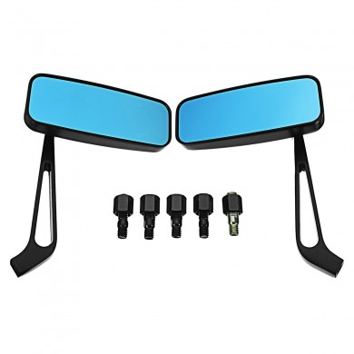 Pair 8mm/10mm Motorcycle Blue Glass Mirrors Side Rearview Scooter Universal