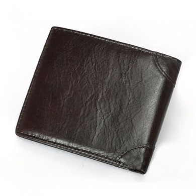 Men Genuine Leather RFID Oil Wax Business Wallet