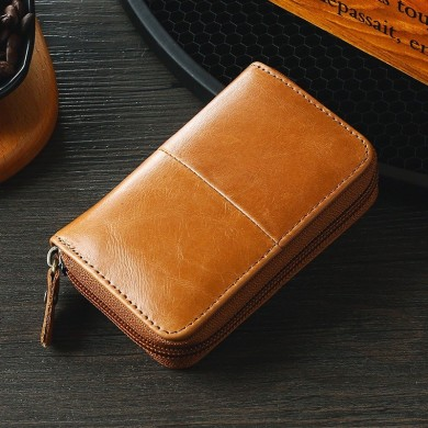RFID Men Oil Wax Genuine Leather 9 Card Slot Holder