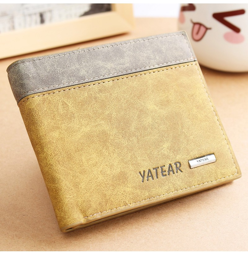 Men's PU Leather Bifold Wallet ID Business Credit Card Holde (Color: Brown) фото