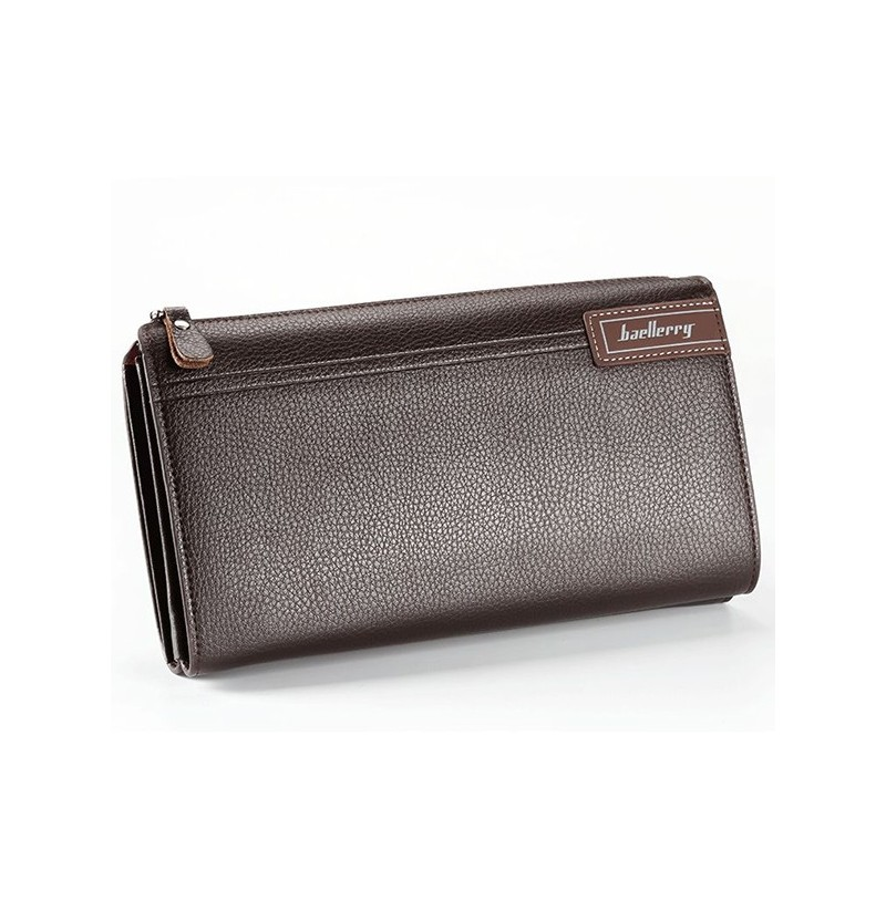Business Casual Zipper Clutch Bag with 4 Cash Pockets (Color: Brown) фото