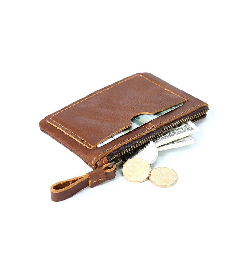 Genuine Leather Vintage Mini Coin Bag Card Holder Purse (Color: Light Yellow) фото