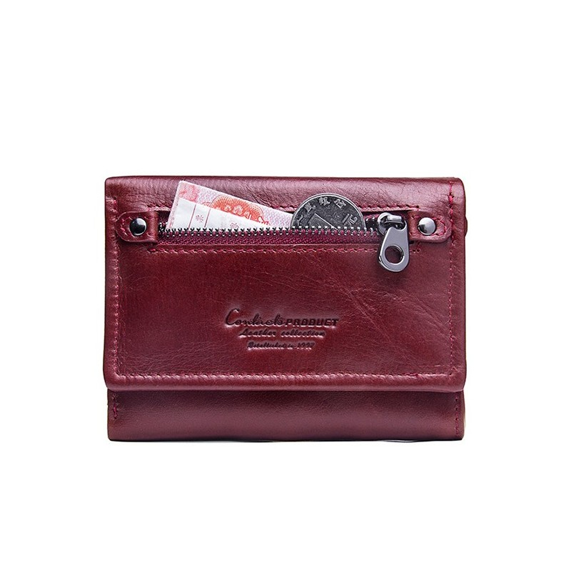 Women Trifold Genuine Leather Vintage Solid Wallet (Color: Red) фото