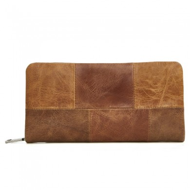 Men Genuine Leather Multi-function Solid Wallet Clutch Bag