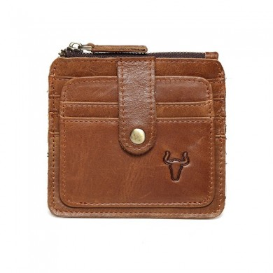 RFID Man Antimagnetic Genuine Leather Coin Bag