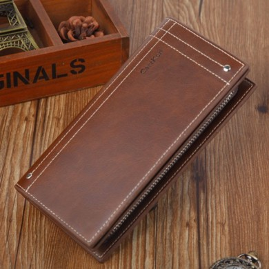Men Classic Retro 12 Card Slots Large Capacity Long Wallet
