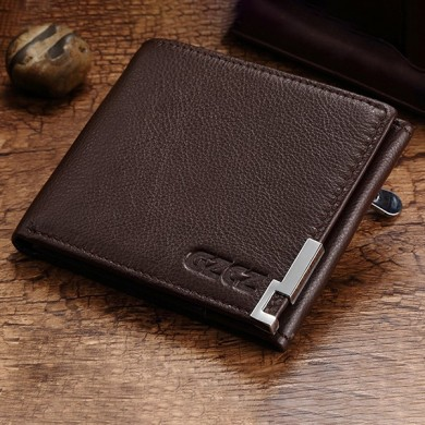 GZCZ Men Genuine Leather Card Holder Casual Short Wallet