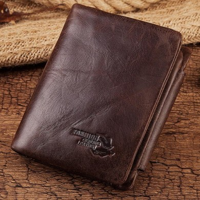 GZCZ  Men Genuine Leather Wallet Card Holder With Coin Purse