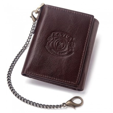 GZCZ Men Rfid Genuine Leather Multi-function Chain Wallet