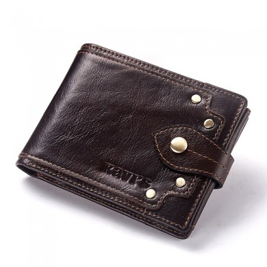 GZCZ  Men Genuine Leather Card Holder Rivet Wallet Coin Bag
