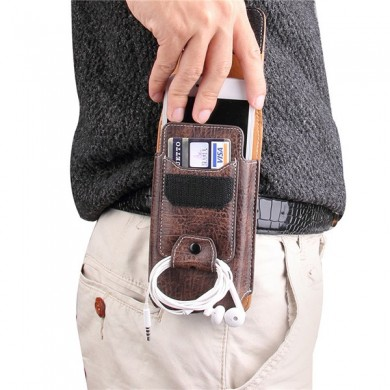 Multiple Sizes Men PU Leather Solid Phone Purse Waist Bag