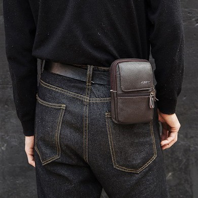 GZCZ Men Genuine Leather Phone Bag Zipper Waist Bag