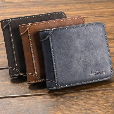 Baellerry Men Multi-Card Short Wallet Matte Leather Wallet