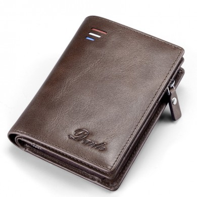 Men Retro Genuine Leather Textured Short Wallet