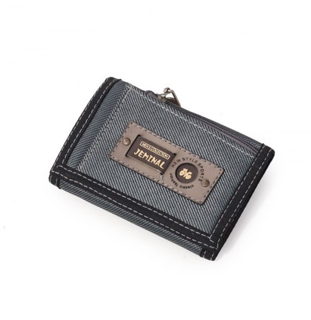 Men Casual Canvas Lightweight Short Wallet Card Holder