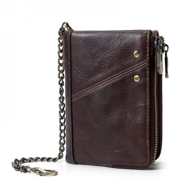 Men RFID Genuine Leather Multi-Slot Multifunctional Wallet