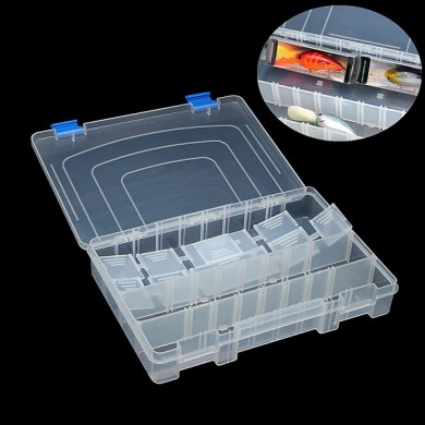 3 Compartments Transparent Plastic Fishing Tackle Box with10 Adjustable Dividers