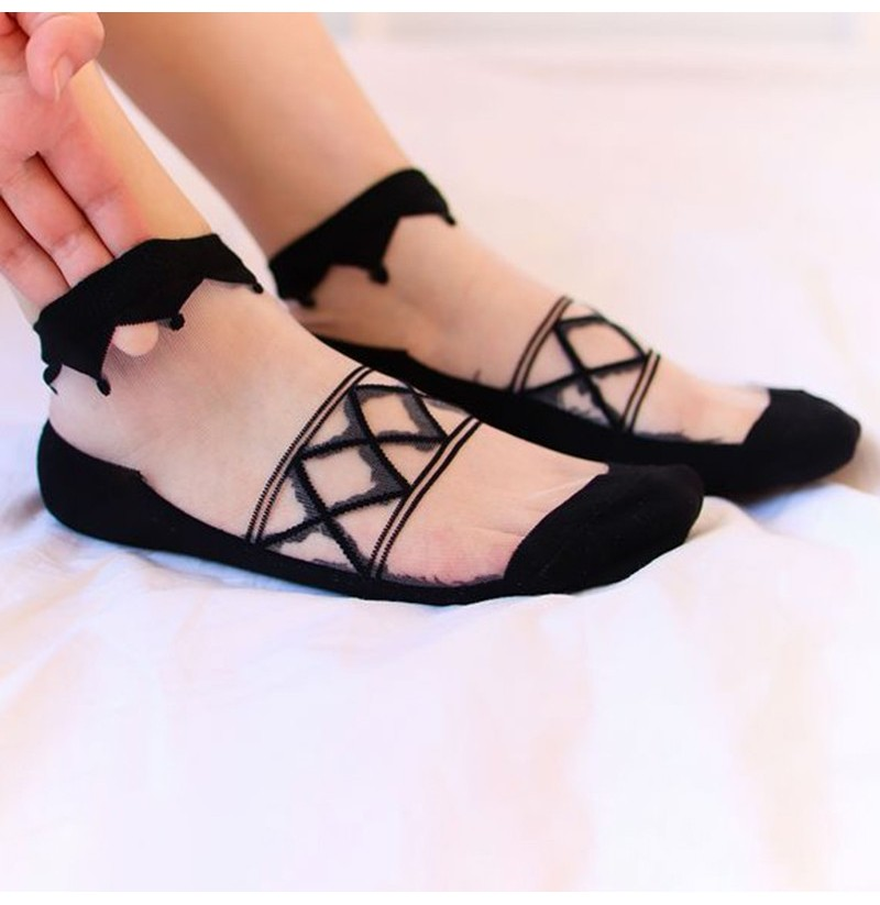 Women Summer Ultra-Thin Mesh Breathable Lace Low Cut Sock (Color: Pink) фото