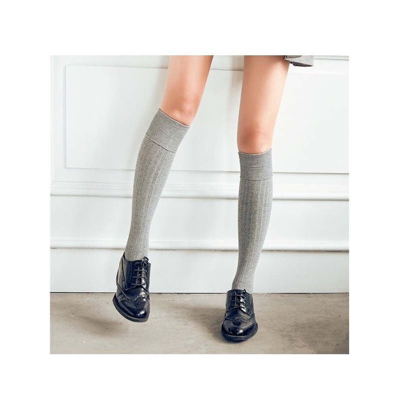 Women Girls Knitted Stripe Cotton Blend Over Knee Stocking Elastic Stretchable High Tight Socks (Color: Coffee) фото