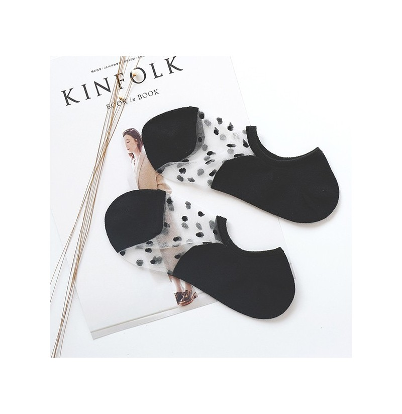 Women Invisible Crystal Lighter Boat Socks Summer Thin Breathable Dot Glass Silk Socks (Color: White) фото