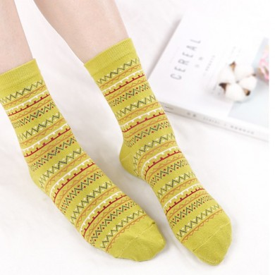 Women Cotton Ethnic Style Low Cut Sock Athletic Boat Socks