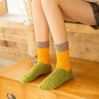 Women Vintage Patchwork Indoor Coral Fleece Floor Socks