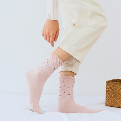 Women Combed Cotton Athletic Socks Indoor Floral Tube Sock