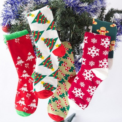Ladies Chiristmas Pattern Jacquard Cotton Middle Tube Socks