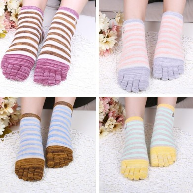 Ladies Five Toes Socks Cotton Striped 4-Pair Set Ankle Socks