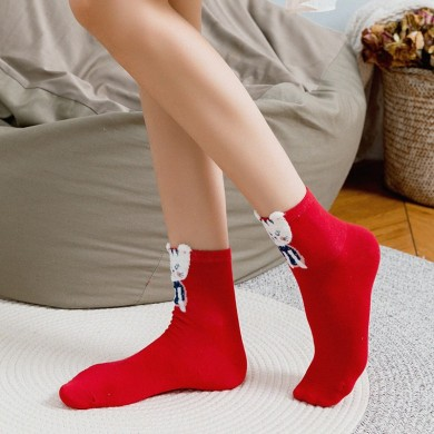 4 Pair Women Christmas Cotton Cute Cartoon Socks