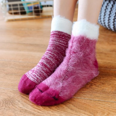 Mulheres Warm Thickening Fleece Forro Anti-Slip Meias