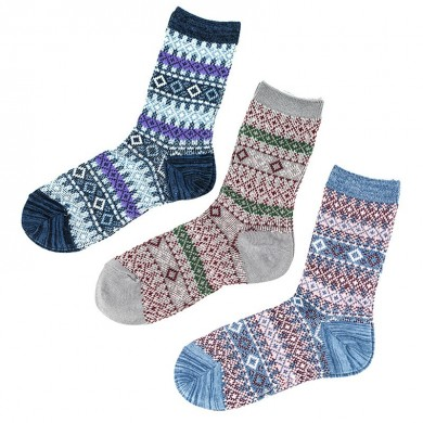 Women Breathable Cotton Ethnic Jacquard Middle Tube Socks
