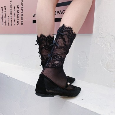 Summer Thin Lace Middle Tube Socks Silk Gauze Bow Socks