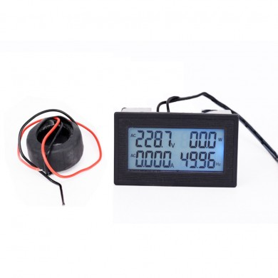 6-in-1 AC60-500V 100A/200A Three-phase AC Voltage Ammeter Blue Backlight Digital Display Multi-function Power Frequency