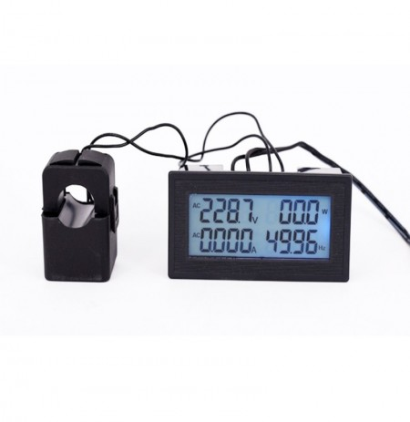 6-in-1 AC60-500V 100A Three-phase AC Voltage Ammeter Blue Backlight Digital Display Multi-function Power Frequency
