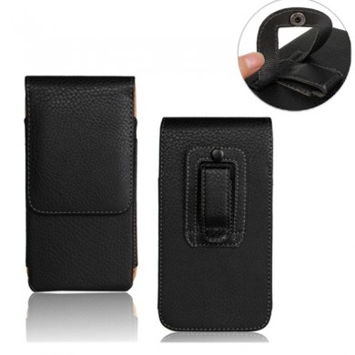 Litchi Grain Black Universal Waist Bag PU Leather Case For Phone Under 5.2 Inch