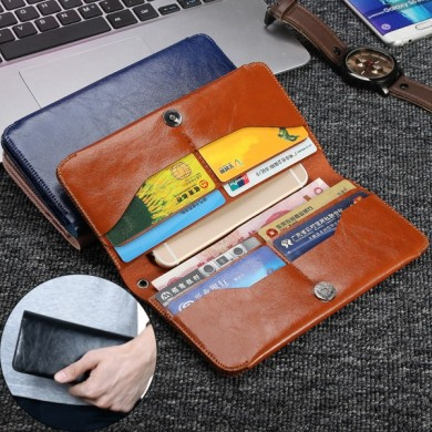 Universal Multifunctional Leather Handbag Wallet Card Solt Purses For Phone Under 6.3 Inch
