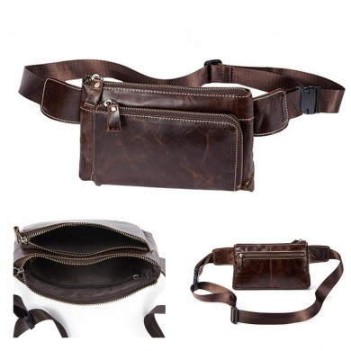 Men Multifunctional Vintage Oil Wax Genuine Leather Waist Bag Phone Case Waist Belt Storage Bag