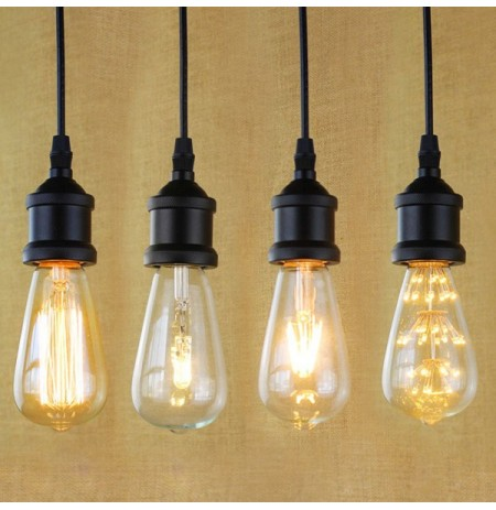 E27 Light Socket I Shape Vintage Retro Edison Bulb Pendant Lamp Holder With Hanging Wire 90V-240V
