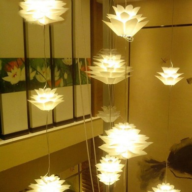 E27 DIY Modern Creative Lily Lotus Dining Room Living Room Bedroom Ceiling Pendant Light Fixture