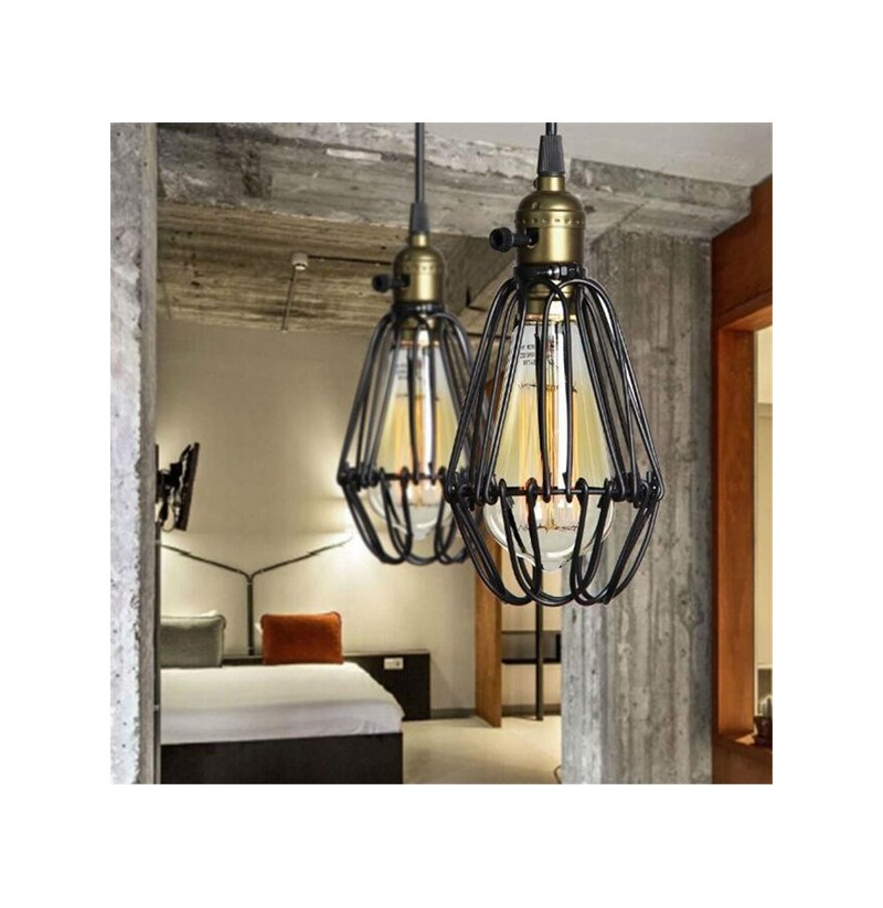 industrial retro vintage kitchen bar shop black pendant light ceiling hanging lampshade fixture. Black Bedroom Furniture Sets. Home Design Ideas