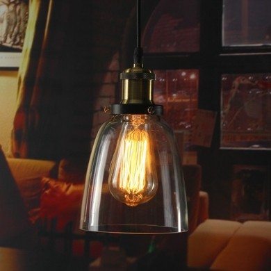 Vintage Industrial Retro Loft Glass E27 Ceiling Lampshade Pendant Light