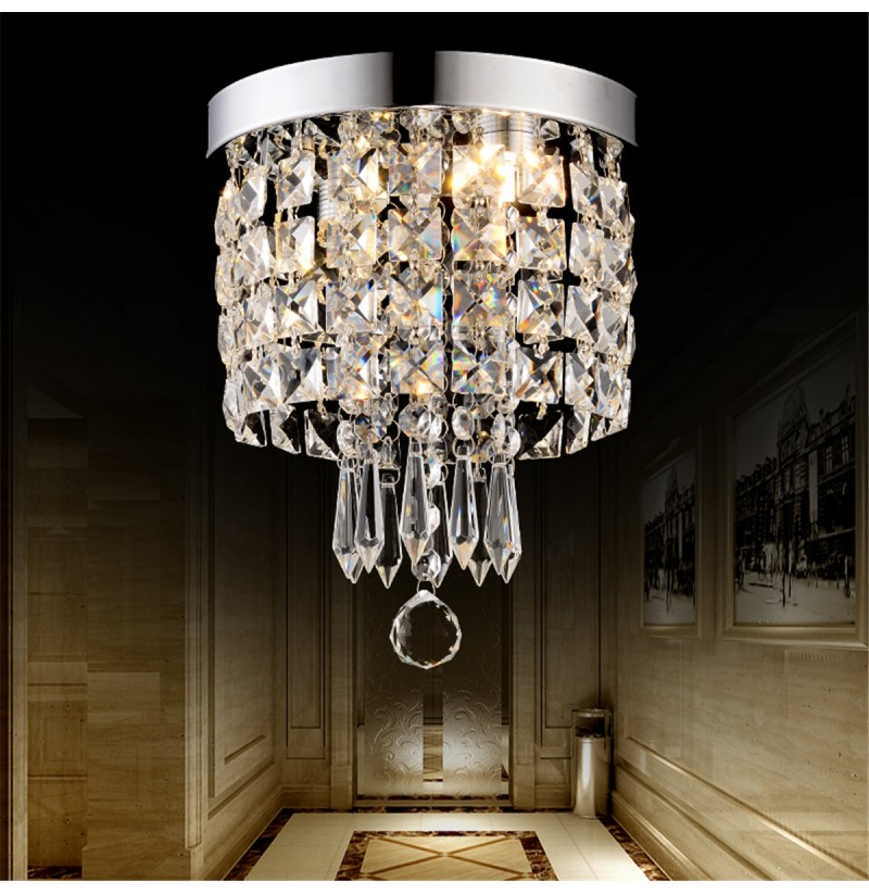 Led pendant ceiling lamp elegant crystal ball light led for Crystal home decorations