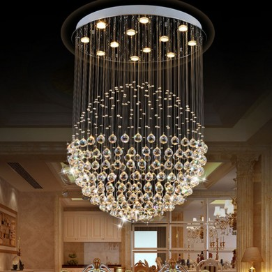 LED Modern Silver Chrome Acrílico Crystal Ceiling Light Pingente Light Chandelier Home Decor
