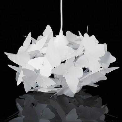 Modern AC110-220V E27 Penas de borboleta branca Pingente Chandelier de teto Light for Living Room