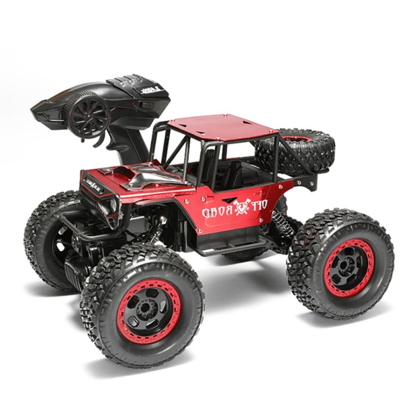 1/18 4WD 2.4G RC Cars Alloy Speed RC Car Toys With LED Head Light 3 Motors (Color: Black) фото