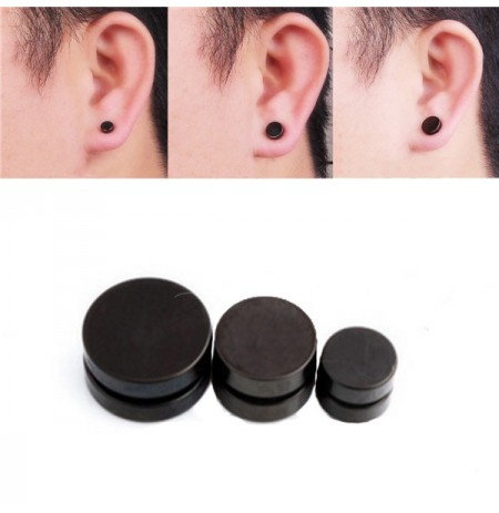 Men Black Magnetic Rounded Ear Clip Studs Earrings Non Piercing