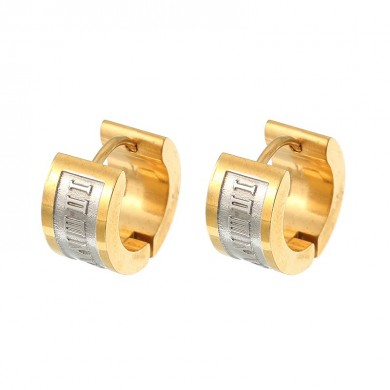 Fashion Roman Digital Ear Stud Stainless Steel Earrings Gift for Men