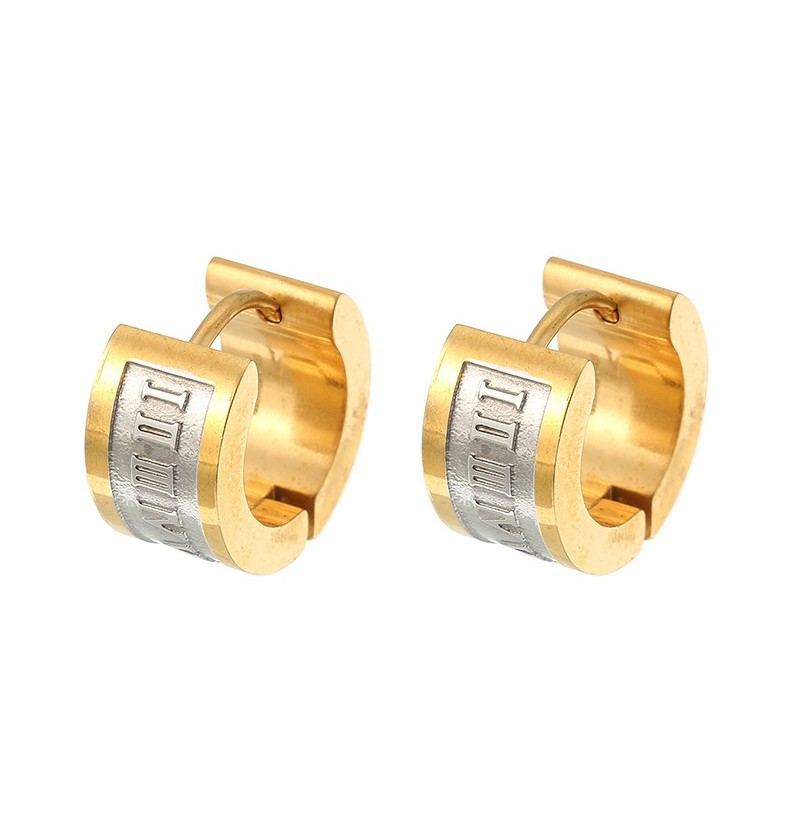 Fashion Roman Digital Ear Stud Stainless Steel Earrings Gift for Men (Color: Gold) фото