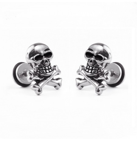 1pc Unisex Retro Stainless Steel Ear Stud Skull Earring Gift for Men Women